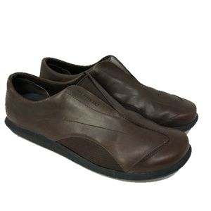 Merrell Brown Leather Elastic flex loafer shoes 11
